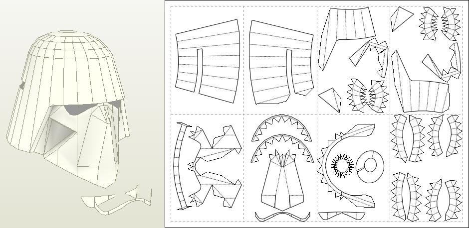Как сделать шлем из бумаги с чертежами